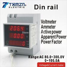 Guida DIN Display a LED VOLTMETRO AMPEROMETRO DIN-Rail gamma AC 80.0-300.0v 0-100.0a