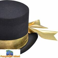 VICTORIAN OLD ENGLAND TOP HAT WITH GOLD BELT - mens fancy dress accessory