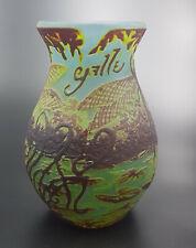GALLE TIP VASE EN PÂTE DE VERRE décors LIBELLULES ART NOUVEAU GLASS DRAGONFLIES