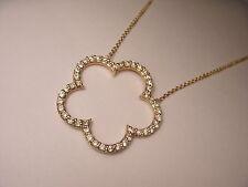 Gorgeous 14K Yellow Gold Diamond Floral 5 Leaf Clover Designer Pendant Necklace