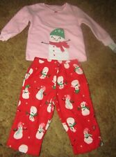 Girls Carter's Nwt red and pink snowman top and fleece bottom pj set sz 12 mos