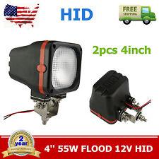 2pcs 55W 4inch 12V Flood Xenon HID Work Light Offroad SUV Truck Square Boat TC