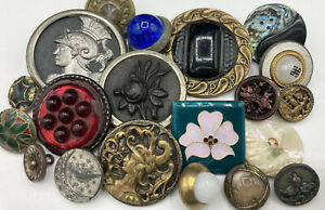 Antique Vintage Lot Of Old Collectible Buttons From Estate Collection Metal+