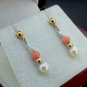 STUNNING PAIR OF ANTIQUE 9K 9CT YELLOW GOLD PEARL AND CORAL DANGLE EARRINGS