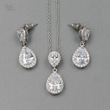 White Gold Plated Zirconia CZ Necklace Earrings Bridal Wedding Jewelry Set 06265