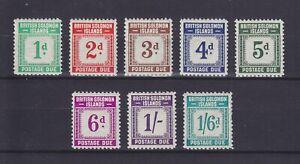 BRITISH SOLOMON ISLANDS 1940, POSTAGE DUE, SG D1-D8, COMPLETE SET, MLH
