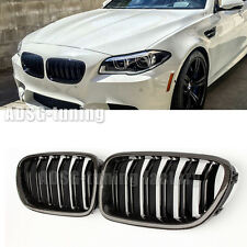 For BMW 5 Series F10 F11 Glossy Carbon Fiber Front Grille Grill M5 528i Sedan