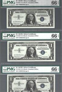1957B Silver Certificates  $1 X 3 notes 😱 RUNNING S/N 😱 PMG 66 Gem UNC EPQ!!!