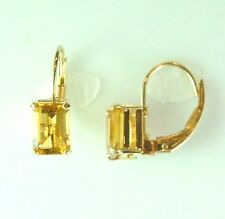 14 kt yellow gold dangle Leverback Pierced Earrings with Citrine