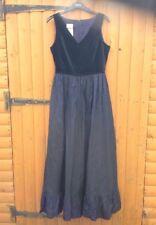 Vintage Laura Ashley Velvet Taffeta Navy Blue Midnight Tulle Frilled Dress 12