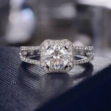 14k White Gold Gp For Women's 1Ct Halo Moissanite Split Shank Engagement Ring
