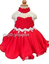 Infant/toddler/baby Halter Crystals Roses Lace Pageant Dress 6~9 Months G035-6
