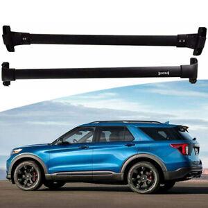 2Pcs Fits For Ford Explorer 2020 2021 Aluminum Roof Rail Rack Cross Bar Crossbar