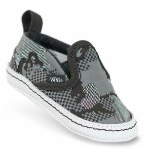 NWOT Vans infant black/white Camo V-crib Leather slip on shoes, sz 3