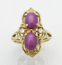 Vintage Estate 14K Yellow Gold Ruby and Diamond Cocktail Ring Size 7.25