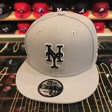 New Era New York Mets Snapback Hat Cap All GREY/Black & White Outline