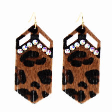 Leopard Print Geometric Shape with AB Bling Leather Earrings
