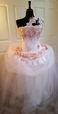 Blush Pink Gold & White One Shoulder Corset Embroidered Lace Wedding Ballgown