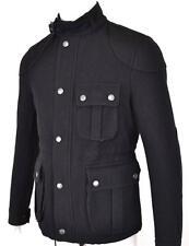 NEW BURBERRY BRIT MEN'S COLMAN $895 BLACK WOOL BLEND MILITARY COAT JACKET~M