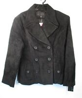 Finity Studio Black Suede Double Breasted Jacket Womens Sz 12P Coat NWT