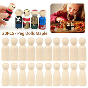 20pcs Wood Peg Dolls Little People Baby Kids Child Wooden Peg Dolls DIY Craft