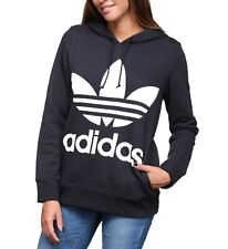 NEW ADIDAS ORIGINALS WOMEN'S TREFOIL HOODIE  ~SIZE SMALL  #CE2408 BLACK