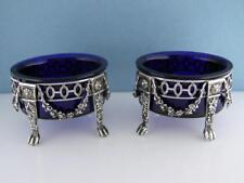 pair 833 Dutch Silver & Cobalt Glass Salt Cellars Dishes w/ elaborate detail