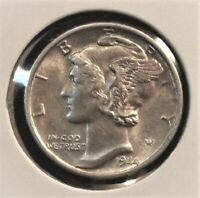 1944 D Mercury Dime Brilliant Uncirculated 90% Silver Coin Gem BU FB Full Bands