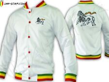 Rasta Reggae JACKET Tracksuit Jah Lion Of Judah Embroidered White