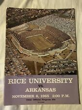 VINTAGE 1965 Rice vs Arkansas Football Program