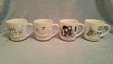 Restoration Hardware New Yorker Cartoon Christmas Santa Coffee Mug Cup Set of 4
