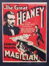 More details for original vintage the great heaney magician poster - 1920s - window card - circus