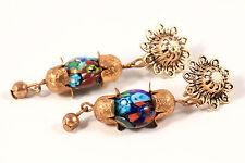 Murano Italian Millefiori Art Glass Bead Gold Tone Dangle VTG Estate Earrings