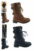 LADIES WOMENS NEW FLAT LOW BLOCK HEEL ANKLE BIKER MILITARY ARMY BOOTS SHOES SIZE