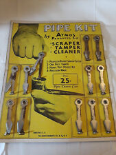 Old Vtg Pipe Kit By Atmos Products Co. Scraper Tamper Cleaner Cardboard Display