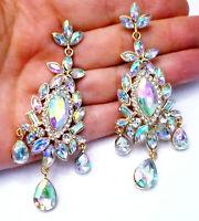 AB Iridescent Chandelier Earrings Rhinestone 3.1 in