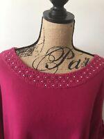 Karen Scott Woman 2X Pink Fuchsia Short Sleeve with cuffs/tabs Shirt Rhinestones