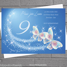 12 x Girls Butterfly Butterflies Sparkles Birthday Party Invitations | H0052