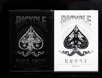 2 pack Ellusionist WHITE & BLACK Ghost Deck - Playing Cards Bicycle Magic Tricks