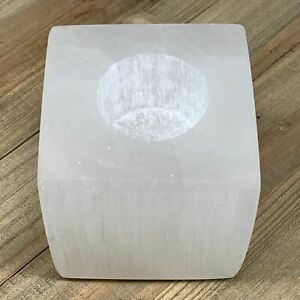 """1pc,1000-1100g, 3.1""""x3.2"""" White Selenite Candle Holder Square Shape from Morocco"""