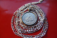 """1920-1943 MEXICO 720 SILVER PRIDE Eagle Coin Pendant on 22"""" 925 Silver Chain"""