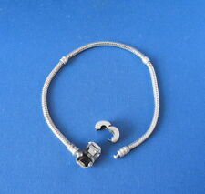 "Sterling Silver Pandora ALE Snap Catch 7.9"" Bracelet with Clip-On Charm"