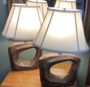 PAIR Asymmetric Modernist Ceramic Lamps by NY Artisan Arpad Rosti MCM Works RARE