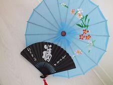 CHINESE JAPANESE S BLUE PARASOL BLACK LUCK HAND FAN WEDDING GIRL WOMEN UMBRELLA