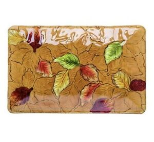 """Glass Fused Platter Fall Autumn Leaves 14"""" Rectangle Thanksgiving Platter Y7981"""