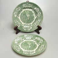English Ironstone  2 x tiefer Teller ca.20 x 2,3 cm creme /grün