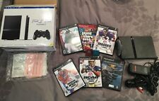 Playstation 2 (PS2) Slim Bundle w/ 6 games, 2 8MB Memory Card, NO Controller
