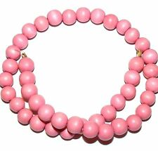 W216 Bright Pink 10mm Round Wood Spacer Beads 16""