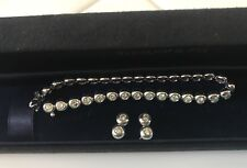 Tiffany & Co Platinum Bezel Set Diamond Bracelet & Matching Earrings