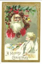 A Merry Christmas Santa & A Little Boy Waking Up Embossed Postcard Unmailed